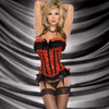 The strapless gartered corset with satin bow pattern and hook and eye closure on back.