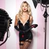 Burlesque wet look garter dress