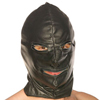 Leather hood with zip eyes and mouth
