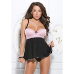 Pink daisy lace babydoll set reviews