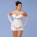 Polka dot mesh corset white reviews