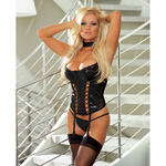 Seductress faux leather bustier set reviews