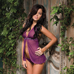Purple sequin trim babydoll reviews