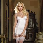 White gartered slip and thong reviews