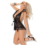 Black lace halter ruffle chemise reviews