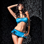 Bandeau ruffle skirt set blue reviews