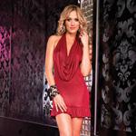 Shimmer foil halter dress reviews