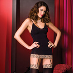 Mini dress with leopard trim and thigh high reviews