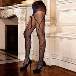 Cross pattern jacquard pantyhose - hosiery