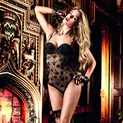 Floral negligee with underwire - teddy