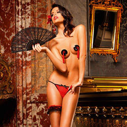 Red heart mesh g-string - sexy panty