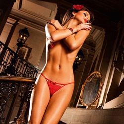 Red lace g-string with bow - sexy panty