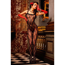 Black lace bodystocking - bodystockings