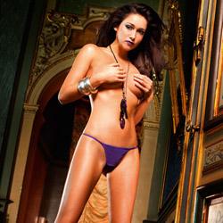 Purple fishnet corset back g-string - sexy panty