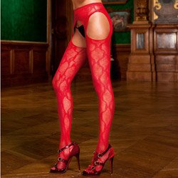 Bow lace suspender pantyhose