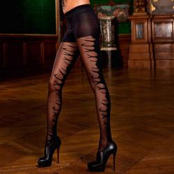 Sheer front jacquard pantyhose