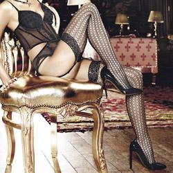 Lace top open net thigh high - thigh highs