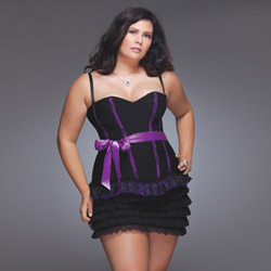 Corset with ruffled lace hem