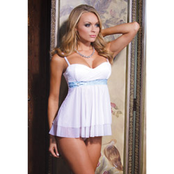 Satin bow babydoll and g-string - babydoll and panty set