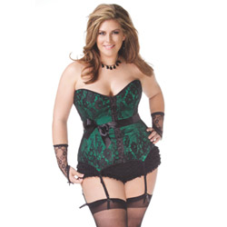 Satin and lace corset with hook and eye closure