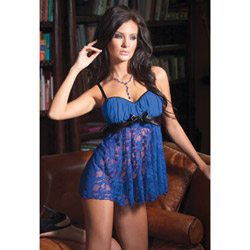 Blue lace babydoll and g-string - babydoll and panty set