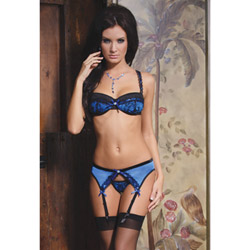 Blue bra garter and g-string - bra and panty set