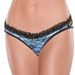 Blue lycra and black lace panty - sexy panties