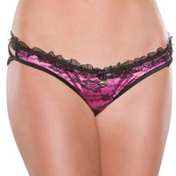 Fuchsia lycra and black lace panty - sexy panty