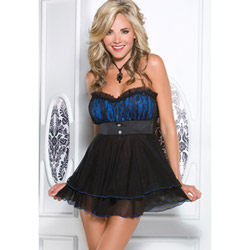 Blue babydoll and g-string - babydoll and panty set