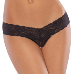 Black mesh lace crotchless thong - crotchless panty