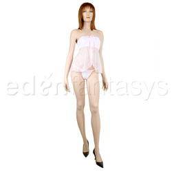 Sheer and opaque strapless babydoll - Babydoll and panty set