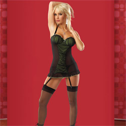 Gathered mesh chemise set