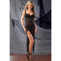 Satin and mesh empire gown set