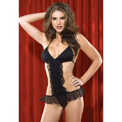 Gathered mesh teddy - sexy lingerie