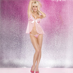 Heart print babydoll with g-string - babydoll and panty set