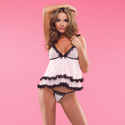Mesh babydoll with g-string - babydoll and panty set