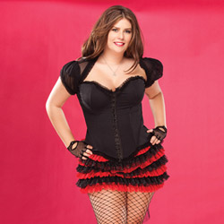 Lycra corset with ruffled trim