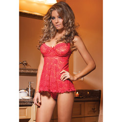 Red lace babydoll and g-string - babydoll and panty set