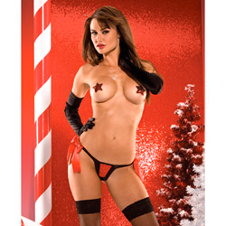 Red and black crotchless g-string - crotchless panty