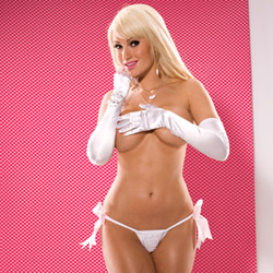White and pink crotchless g-string - crotchless panty