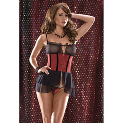 Corset style babydoll set - babydoll and panty set