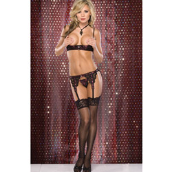 Lace over satin bra and garter set - shelf bra, panty and garter belt set