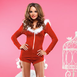 Velvet Santa romper with hood - sexy costume