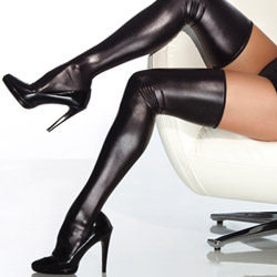 Wet look thigh high stockings - sexy lingerie