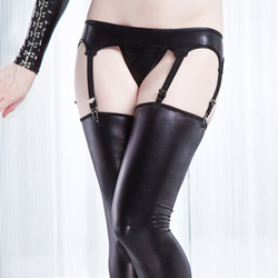 Wetlook garter belt - sexy lingerie