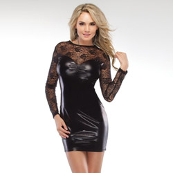 Wetlook long sleeve dress - mini dress