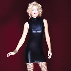 Wetlook sleeveless dress - mini dress
