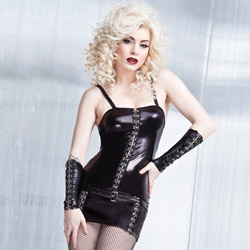 Wetlook dress with hook and eye front - mini dress