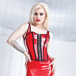 Wetlook bustier with padded cups