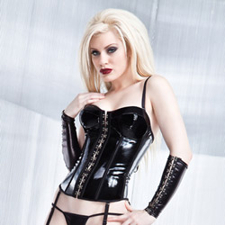 Wetlook corset with padded cups